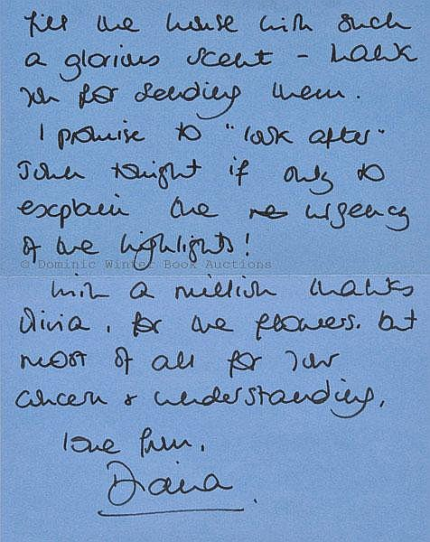Diana (Princess of Wales). Autograph letter