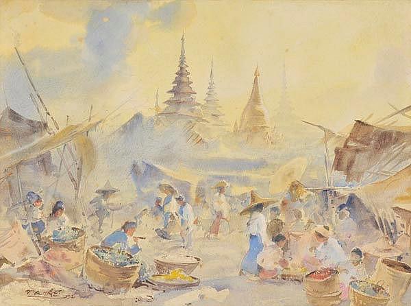 Ba Thet (U, 1903-1972). Maymyo Bazaar, Burma,