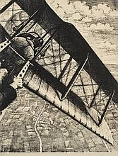 Nevinson (Christopher Richard Wynne, 1889-1946). Banking at 4000 Feet, from Building Aircraft. The Great War: Britain's Efforts and Ideals (LG. 23) lithograph, 1917,