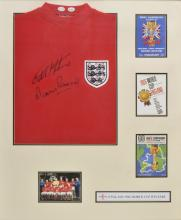 * Football. An England 1966 World Cup final replica shirt, signed by the goal scorers Sir Geoff Hurst and Martin Peters,