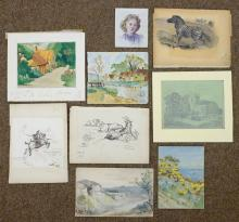 * Watercolours & Drawings. A mixed collection of approximately fifty watercolours and drawings, 20th century,