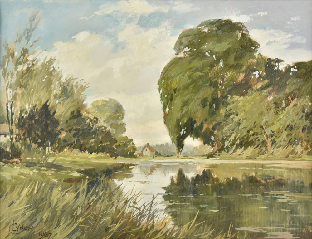 * Lynch (C., 20th century). Two English river landscapes, 1967