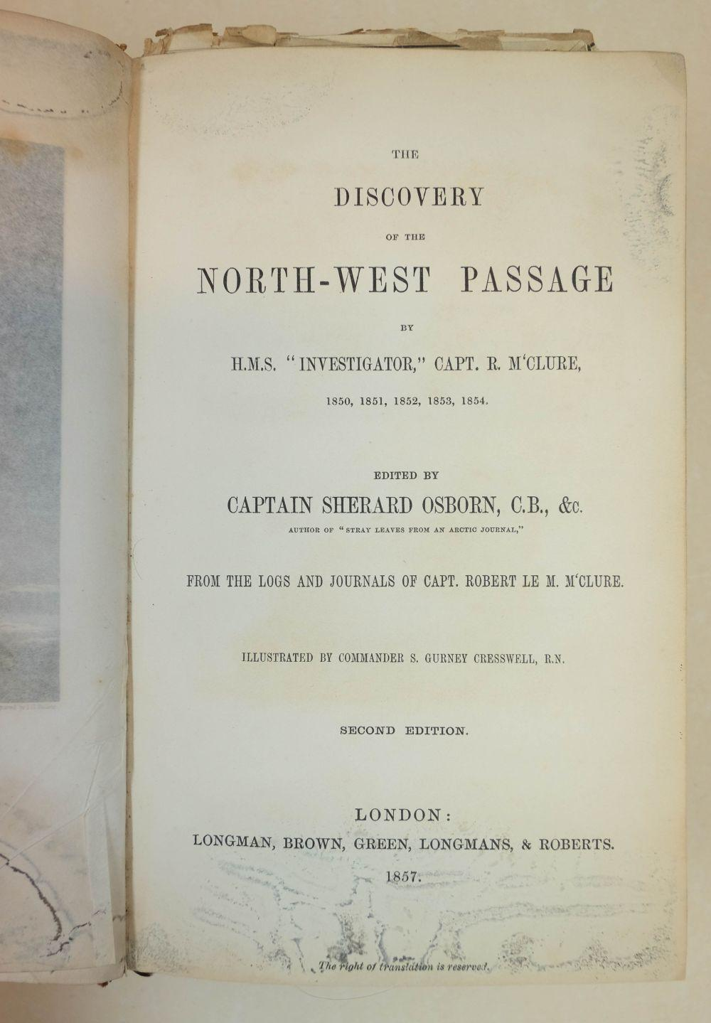 McClure (Robert). The Discovery of the North West Passage, 2nd edition, 1857