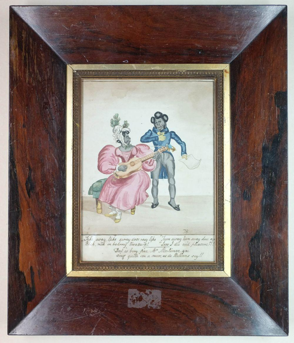 * Watercolours and prints. A collection of 19th century watercolours and prints
