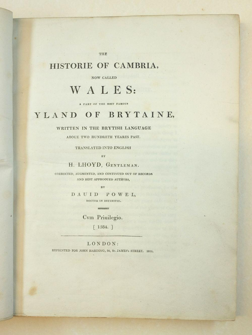 Caradoc of Llancarfan (Saint). The Historiie of Cambria, now called Wales..., 1811