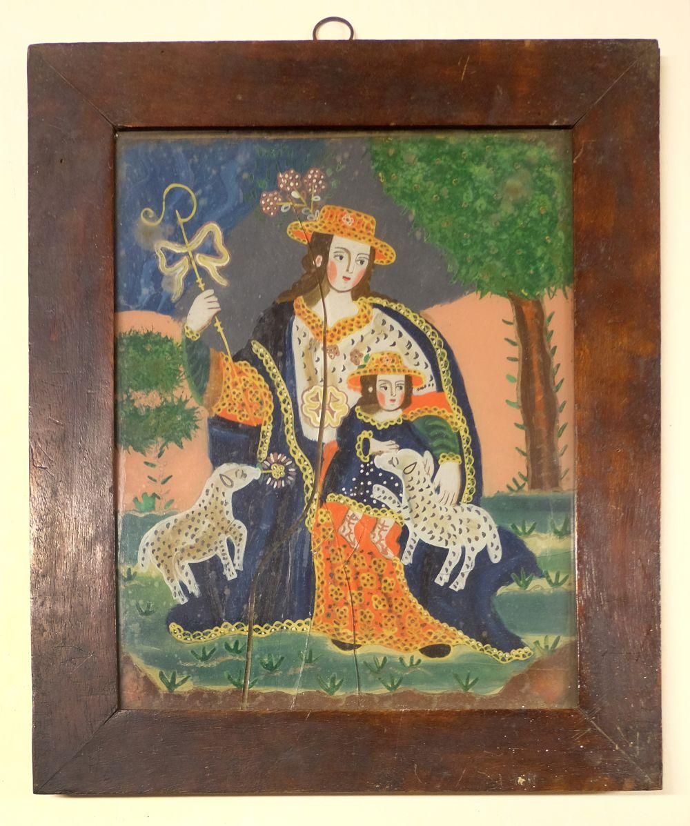 * Glass Painting. La Divina Pastora, late 18th/early 19th century