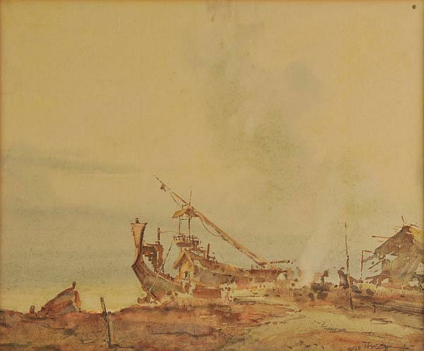 Ba Thet (U, 1903-1972). Harbour Scene, watercolour on paper, signed lower right,