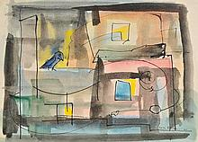 Berlin (Sven, 1911-1999). Composition, 1945, pen and indian ink and watercolou