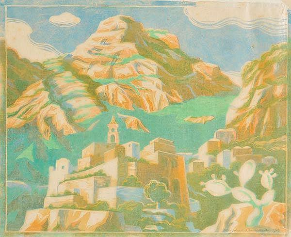 Barnard (Margaret, 1900-1992). Mountain village,  colour woodcut on japan, sign