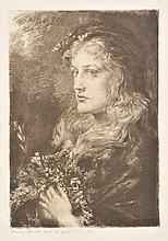 Merritt (Anna Massey Lea, 1844-1930). Ophelia, 1880, etching on thick laid pape