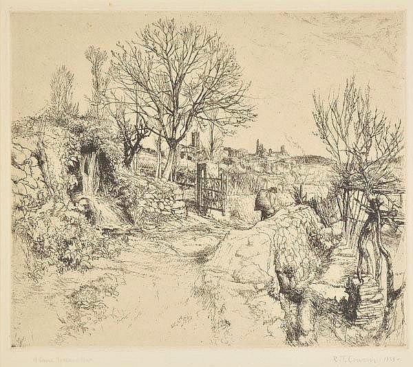 Cowern (Raymond Teague, 1913-1986). A Lane, Toscanella, 1938, etching on cream
