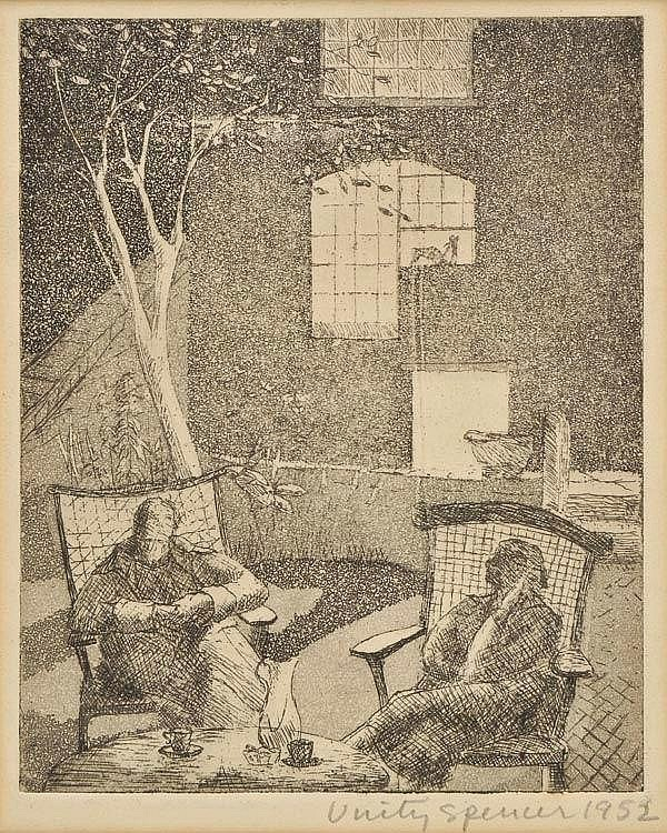 Spencer (Unity, 1930-). Figures in a garden, 1952,  etching with aquatint on wo