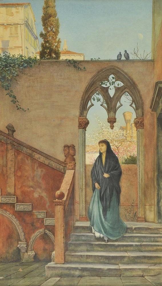 *Darvall (Henry, active 1848-1889). Exterior Stair in the Court of Palazzo Contarini Porta di Ferro, Venice, 1882,