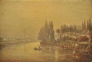 * Renault (Edmond, 1829-1905). River scene at