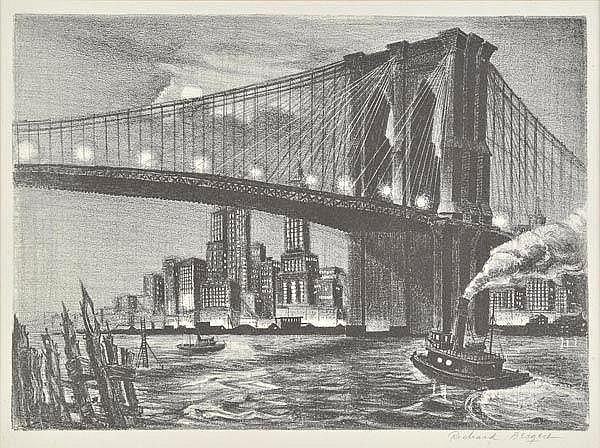 * Bergere (Richard, 1912-). Twilight over Brooklyn