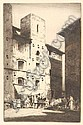 [ Subject To VAT ] Howarth (Albany E., A.R.E., 1872-1936). The Market Spain, etching, signed in pencil, plate size approx. 250 x 165 mm ( 10 x 6.5 ins), framed and glazed, together with another similar etching of a Spanish street scene by the same, Albany Howarth, Click for value