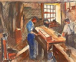 [ Subject To VAT ] Buchanan (Evelyne Oughtred, 1883-1978). Carpenter's Shop, Isle of Man, watercolour, signed, approx. 340 x 420 mm (13.5 x 16.5 ins), framed and glazed Provenance: Miss Elspeth Buchanan, the artist's daughter. (1)