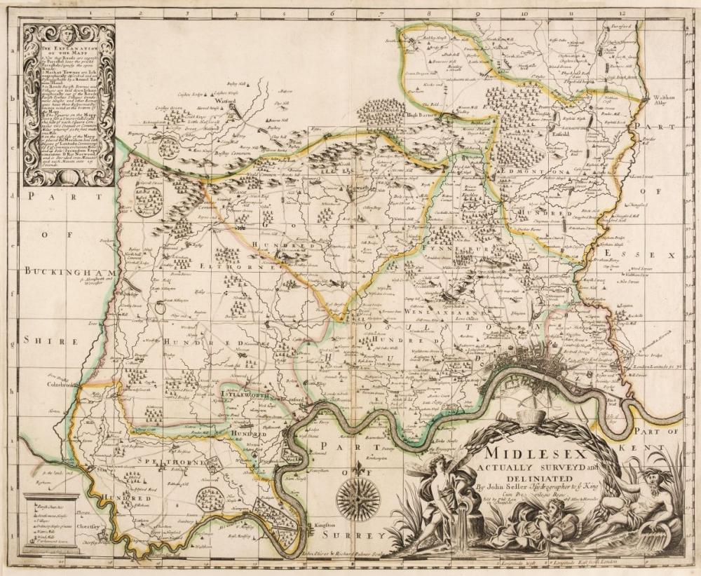 British County Maps. A collection of nine maps, mostly 17th century