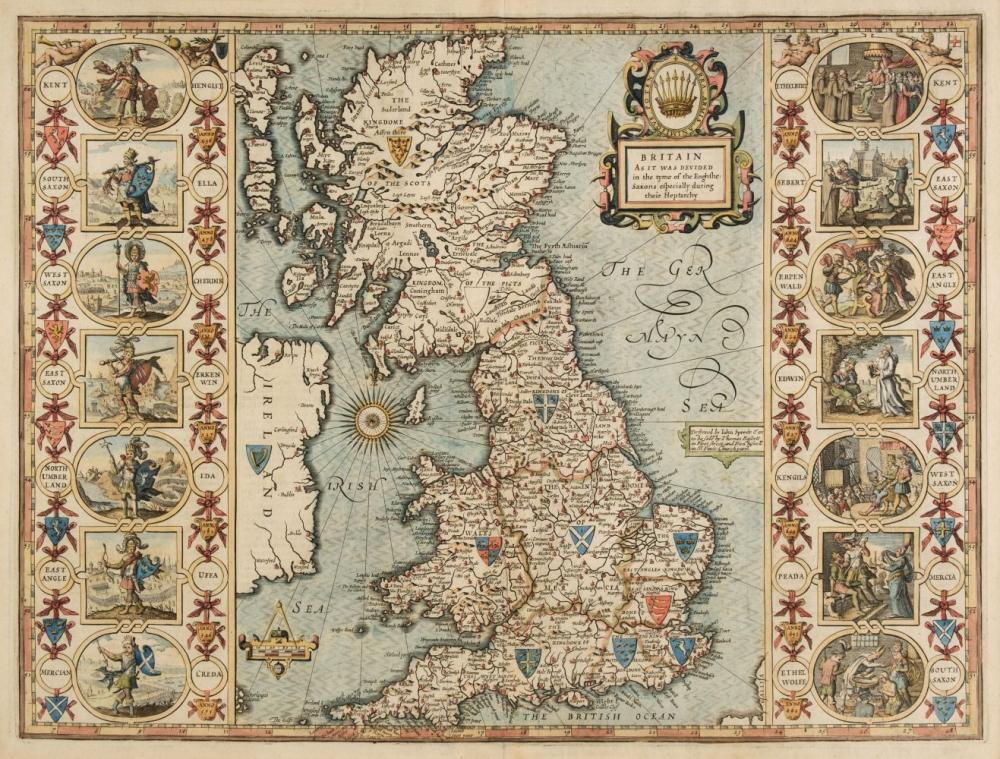 British Isles. Speed (John), Britain as it was divided in the tyme of the Englishe Saxons..., 1676