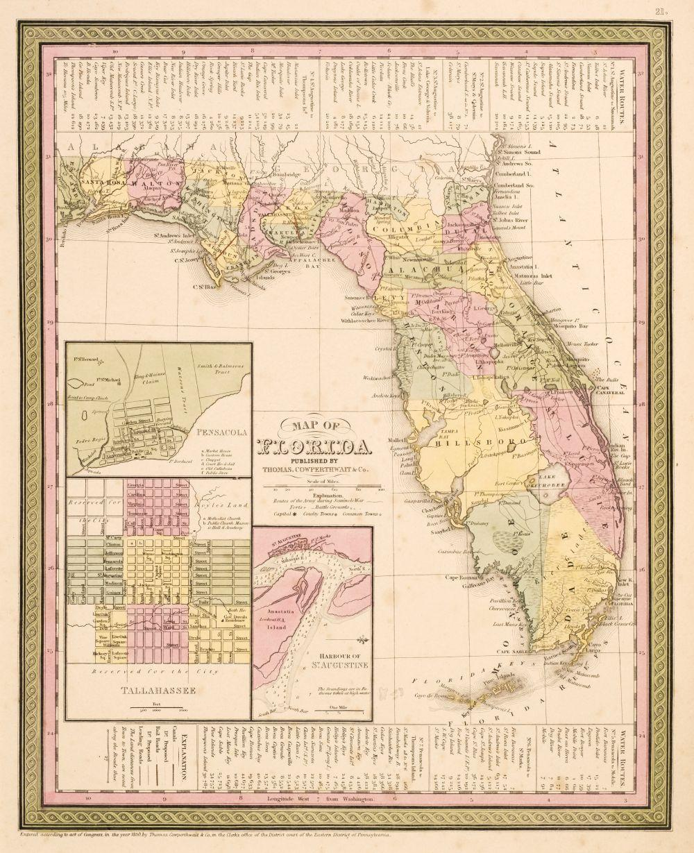 Cowperthwait (Thomas). Twenty-four maps of American States and Cities, 1850