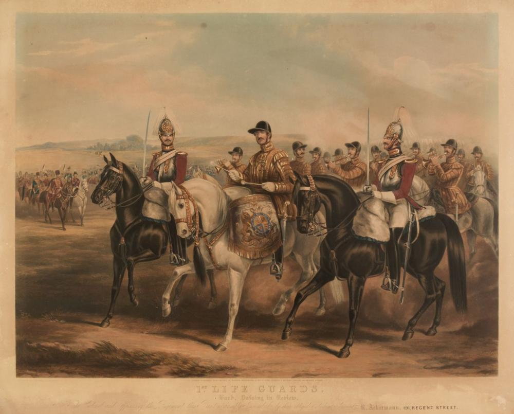 Military. Harris (John), 1st Life Guards. Band Passing in Review, Rudolph Ackerman, 1851