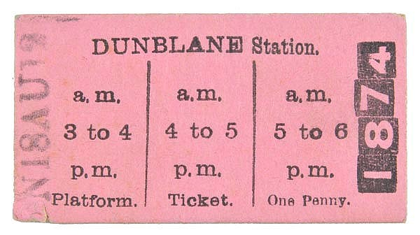 Caledonian Railway. A pink Type 1 platform ticket