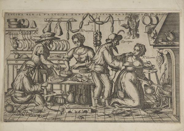 * Brambilla (Ambrogio, active 1582-1599). Cucina per il pasto de Zan Trippu, 1583,