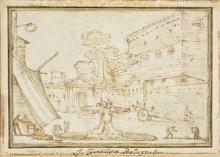 * Grimaldi (Giovanni Francesco, il Bolognese, 1606-1680). Courtyard with fountain