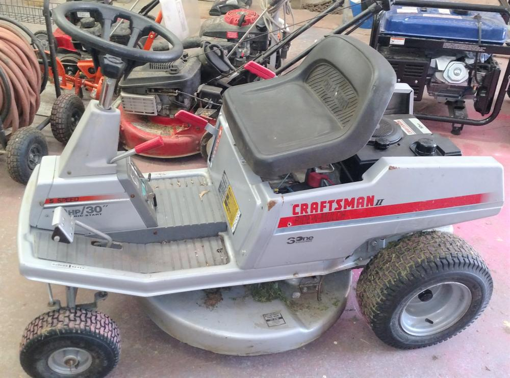 "craftman II ride-N-mulch 5 speed, 10hp, 30"" cut, elec start-- runs good"