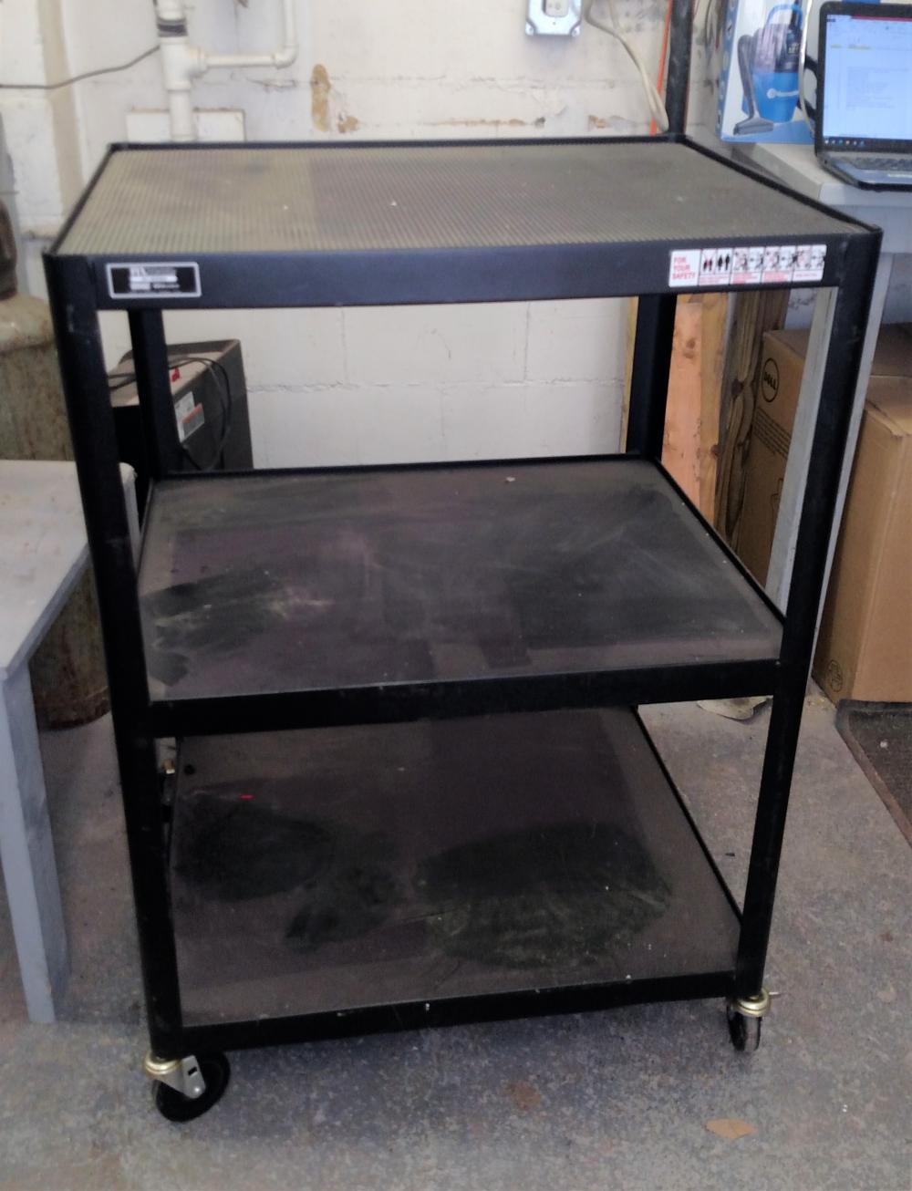 "black metal shop cart on wheels - 43"" tall, 25"" x30"" top"