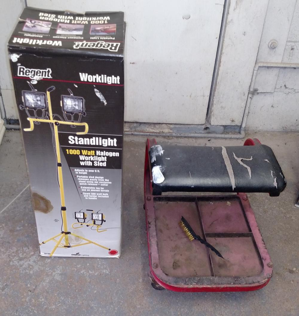 standing work light (new in box) and shop stool