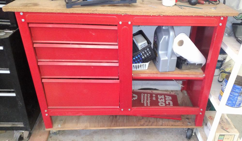 "Red tool box on wheeled platform-- 39"" tall, 45"" wide, 19"" depth- tool box only"