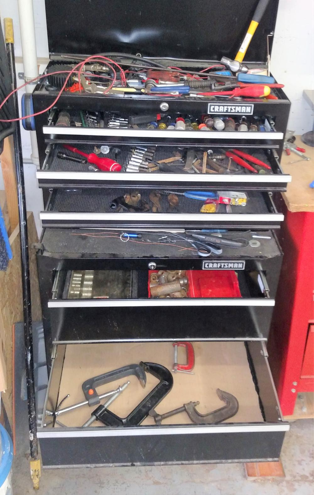 black tool box contents-- sockets, wrenches, nut drivers, c clamps, elec drill---contents only