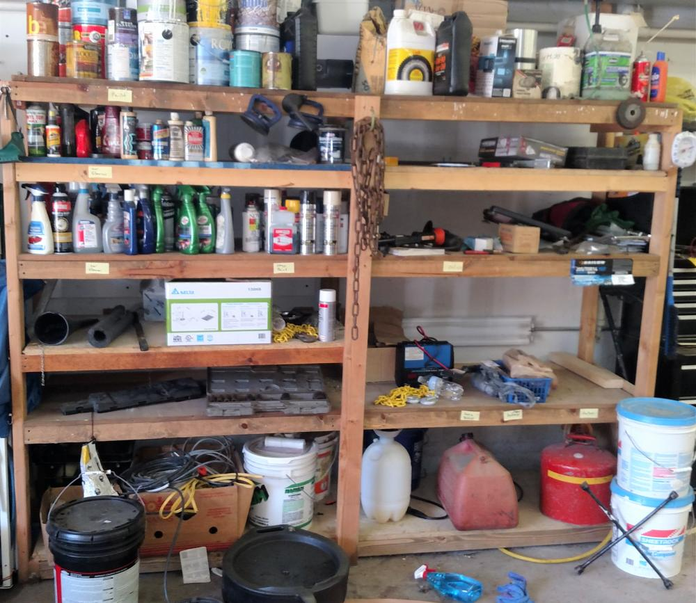 wood shelf contents-- wire, paint, chain, ramset power fastening sytem, fluids, sprayer, jumper, -- contents only