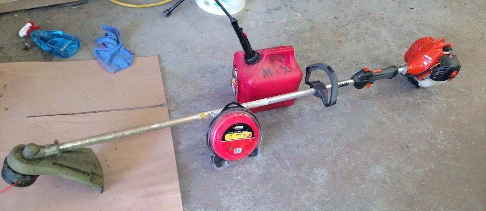 echo gas weed eater and string and mix gas can