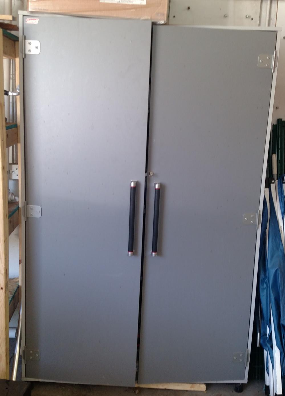 "grey wood 2 door cabinet-- cabinet only-- 4' wide, 75"" tall, 20"" deep-- w/ key"