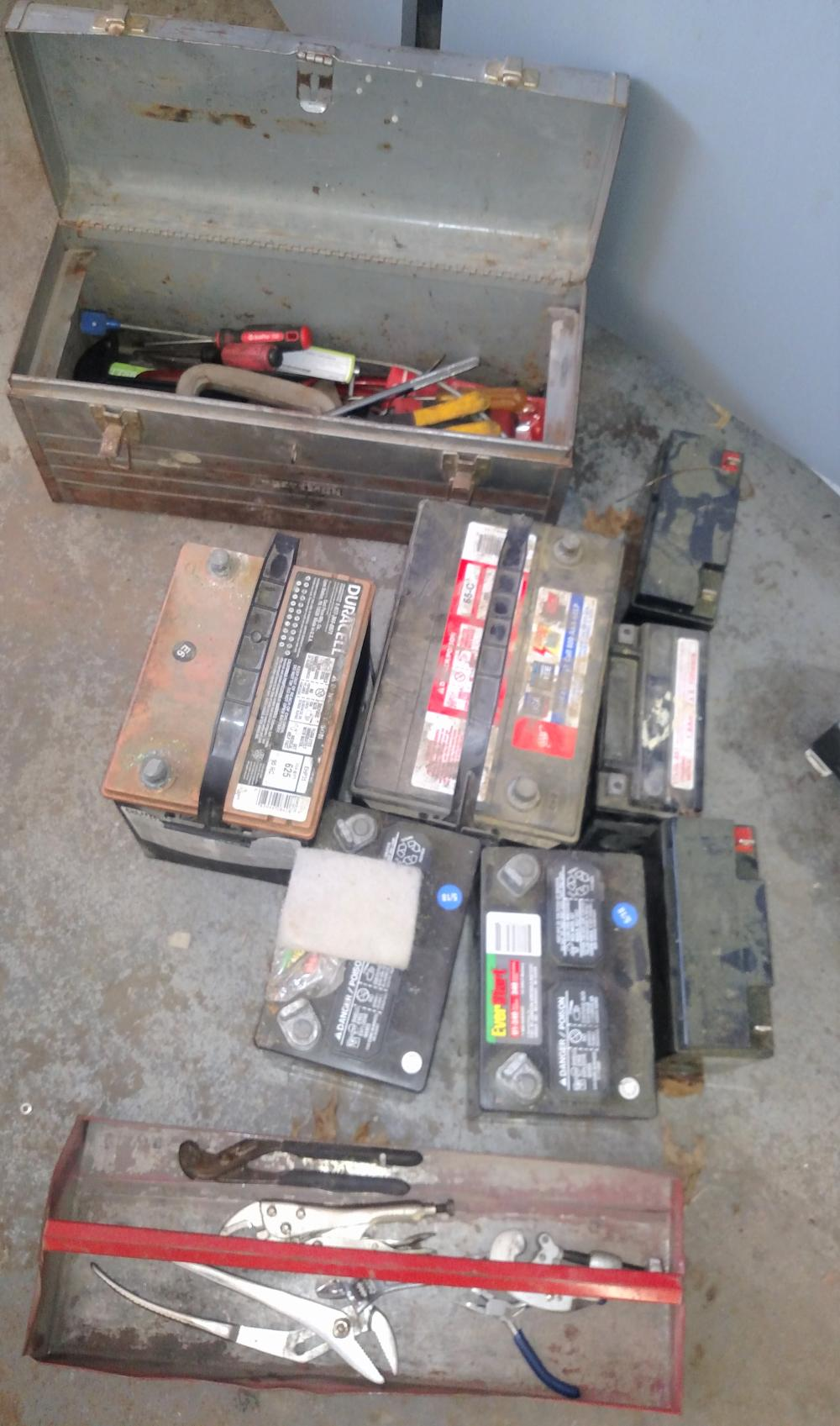 tool box w/ misc tools and assort batteries