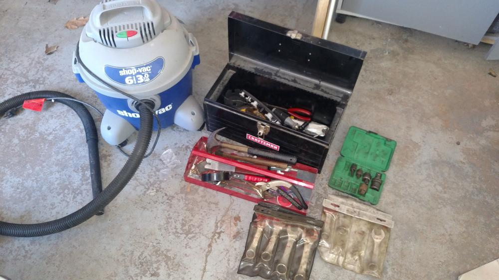 tool box w/ tools-- wrenches, hammers, misc, and shop vac