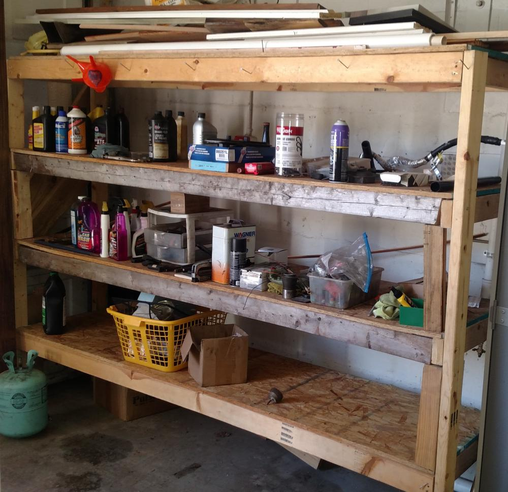 "wood shelf unit-- 6' tall, 8' 3""long, 2' 2"" deep--- shelf unit only"