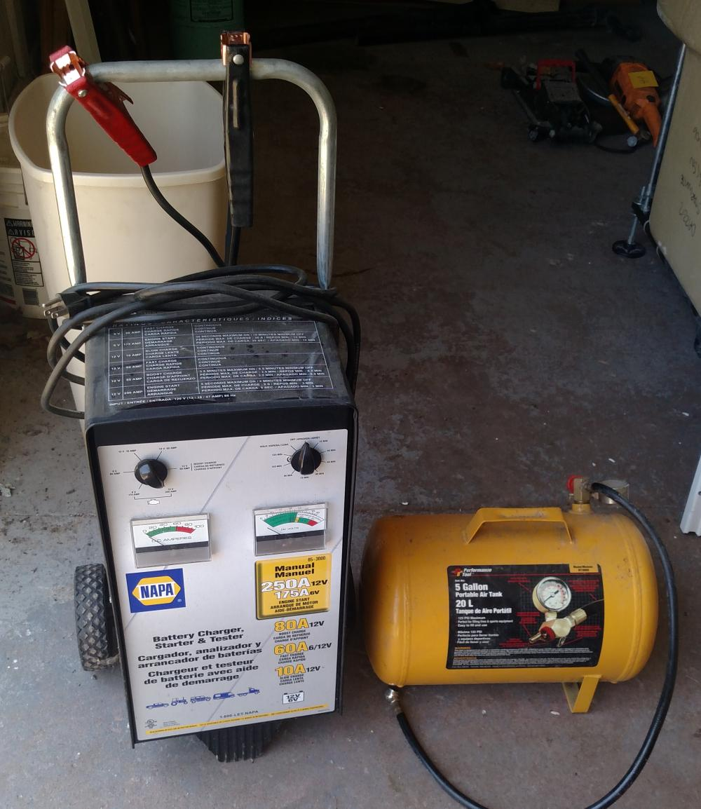 battery charger, starter and tester and 5 gal port air tank
