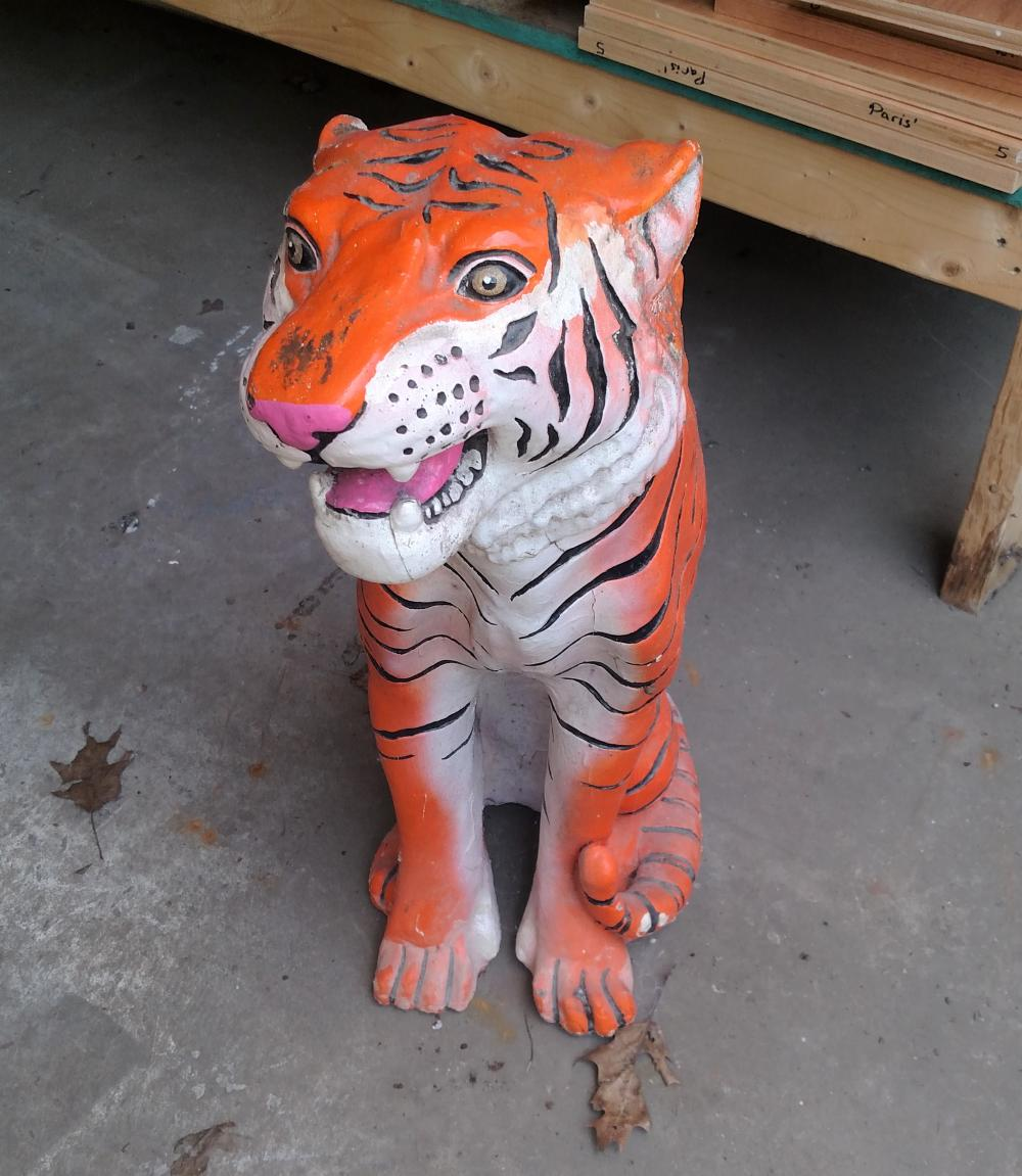 "plaster tiger-- 27"" tall"