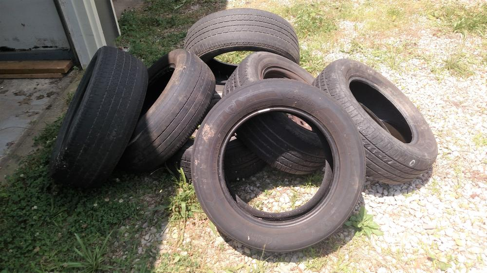assorted tires- some w/ rims +-10