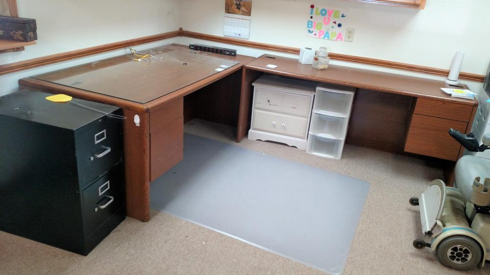 desk, file cabinet, misc storage