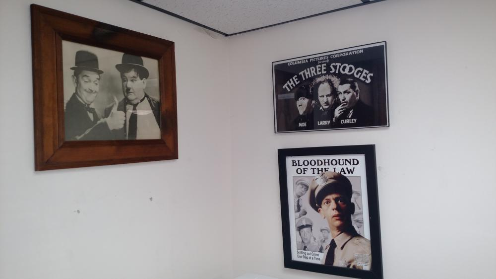 3 pictures-- Barney, Laurel, Stooges