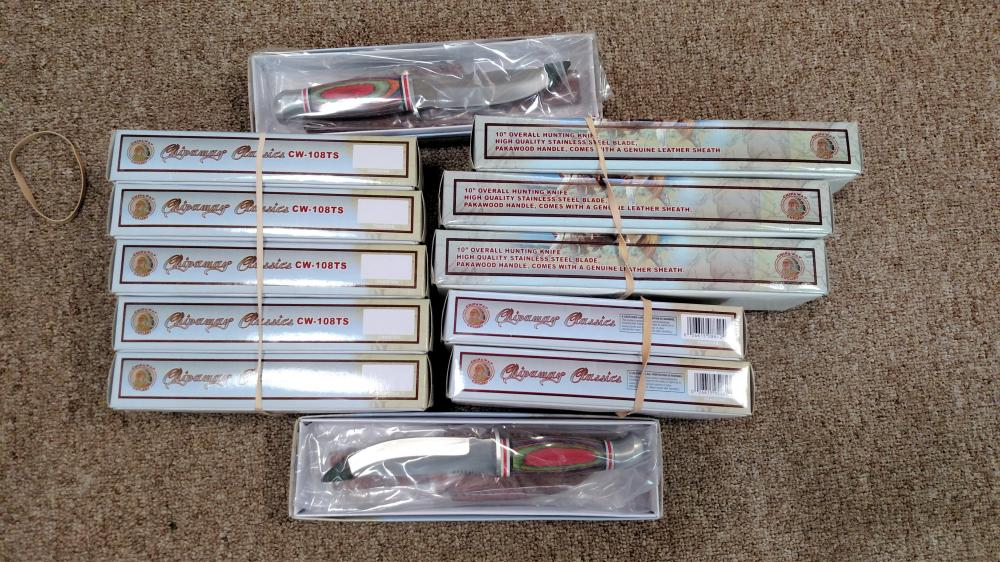 12 assorted knives w/ sheaths