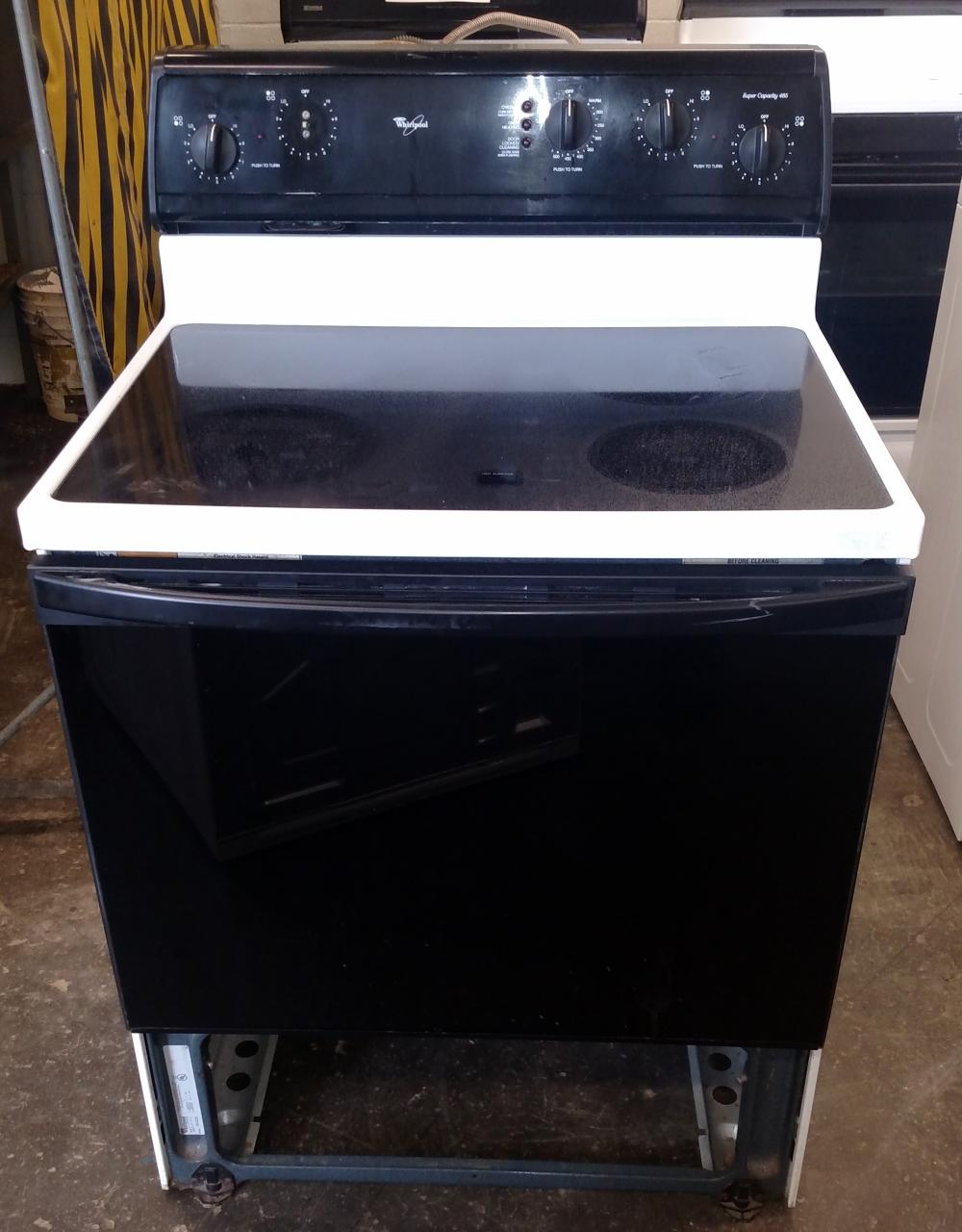 whirlpool glass top elec range-- no bottom drawer-- missing 1 knob