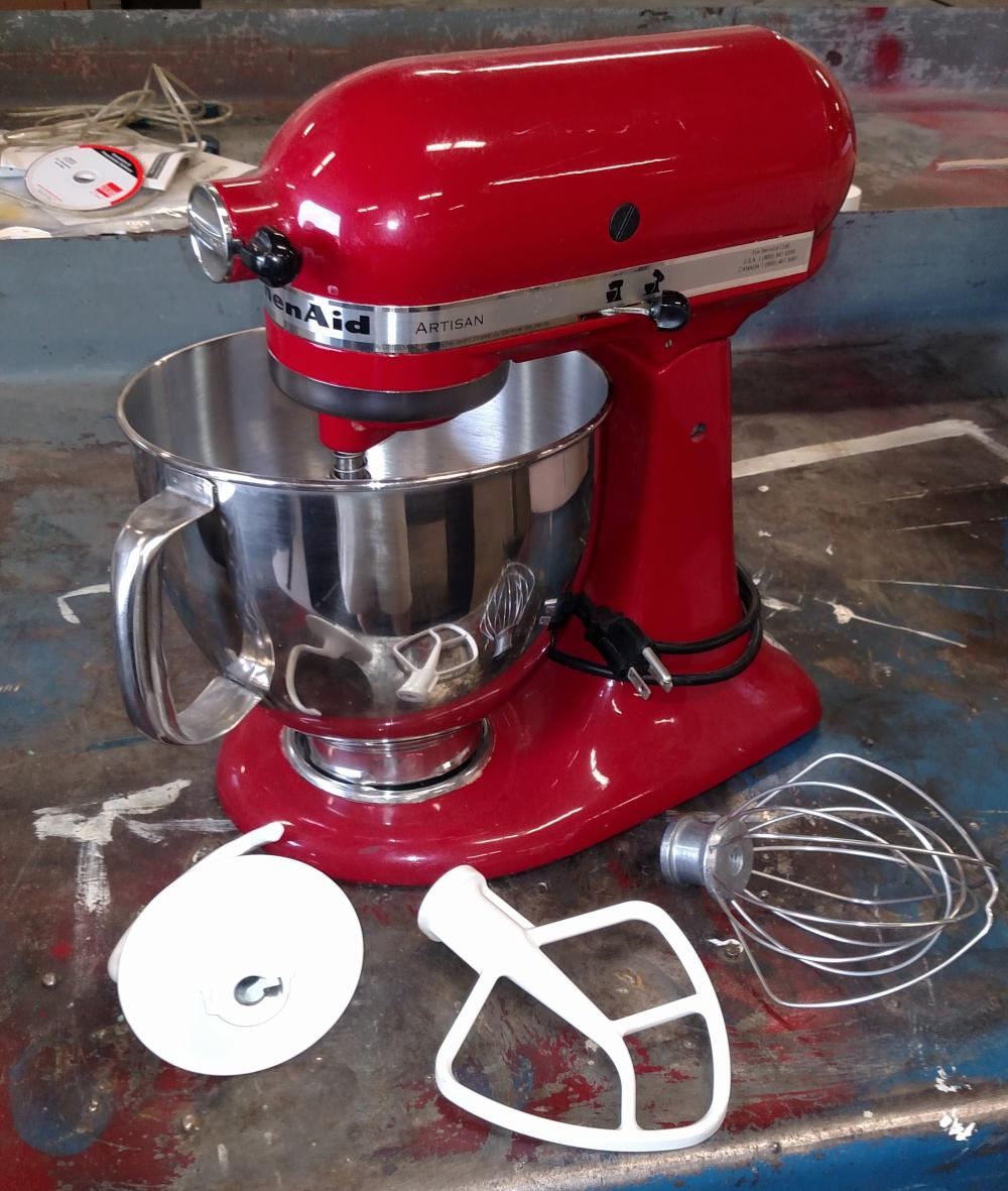 red kitchen aid artisan mixer