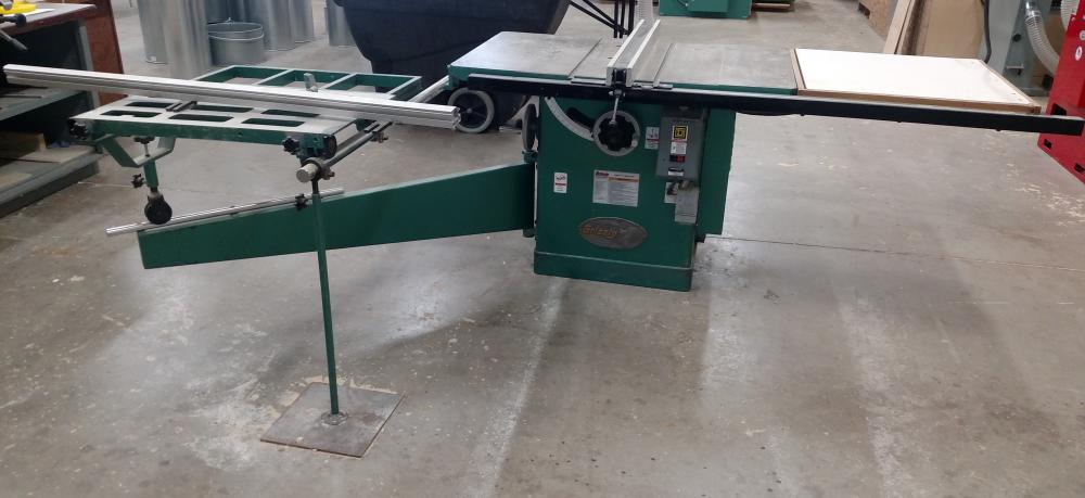 grizzly commercial table saw with table extension slide 480 3-phase-- very nice condition
