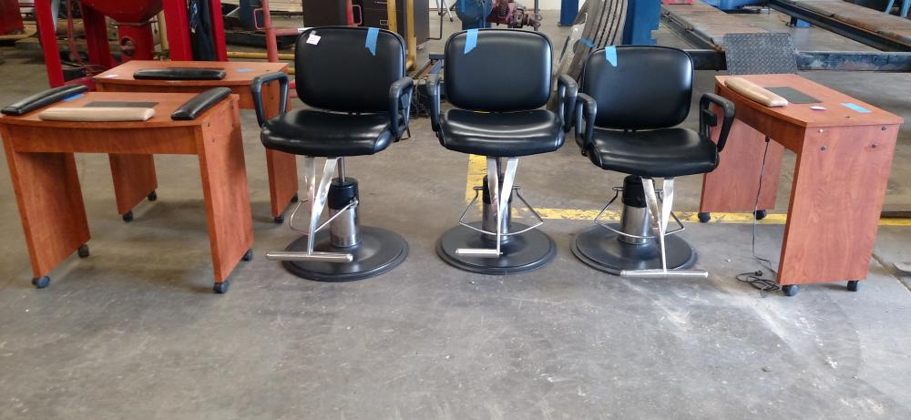 3 beauty shop chairs with 3 nail manicure stations
