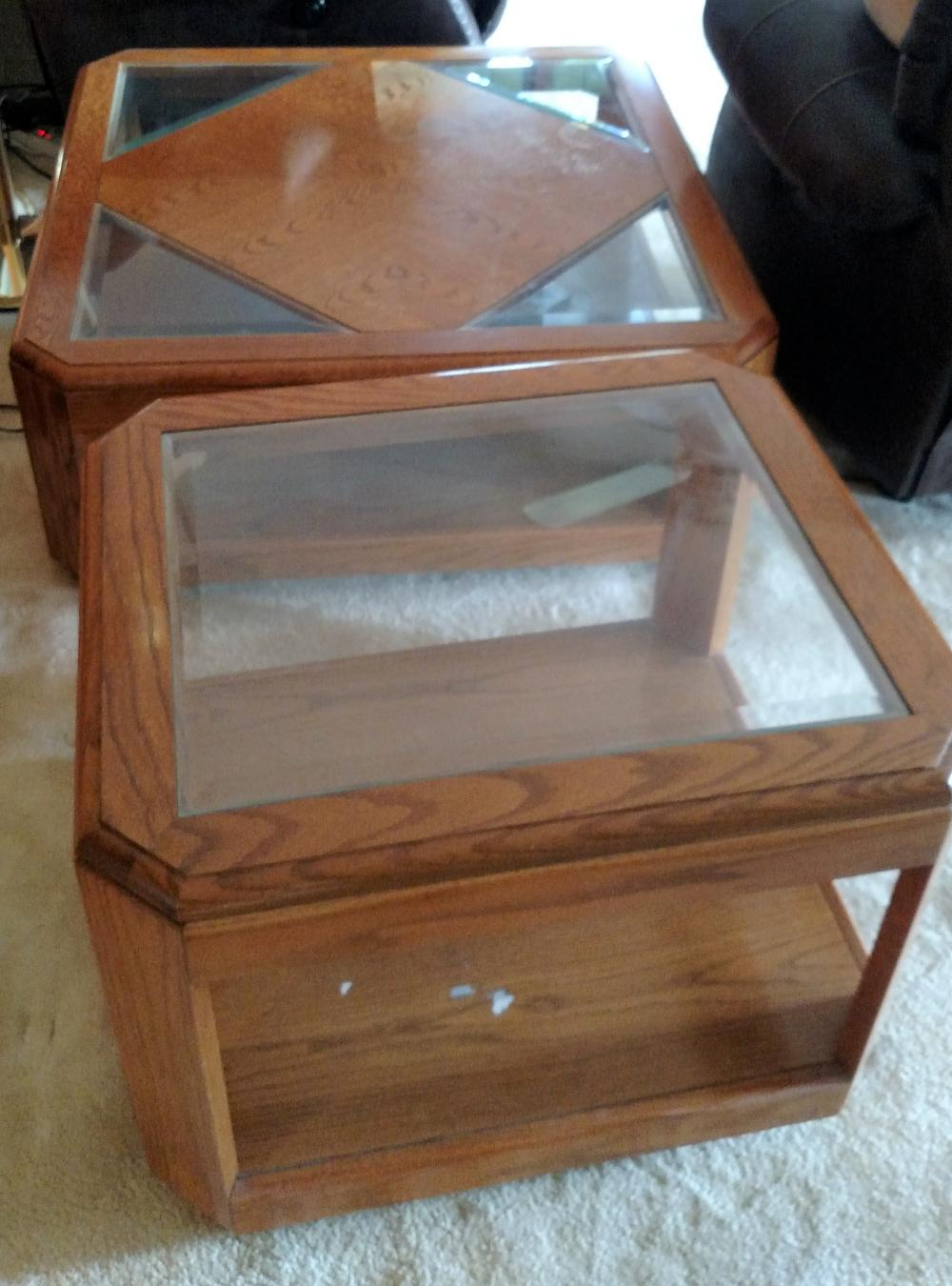 glass top coffee table and lamp stand